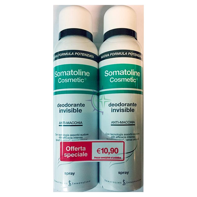 Somatoline Cosmetic Linea Corpo Deodorante Invisibile Spray Anti-Macchia 2x150ml